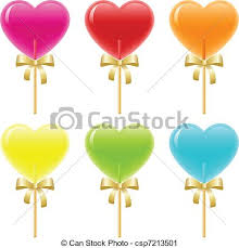 heart lollipop heart lollipops heart shaped lollipops with ribbons vector clip