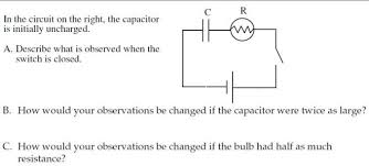 in the circuit on the right the capacitor is init chegg