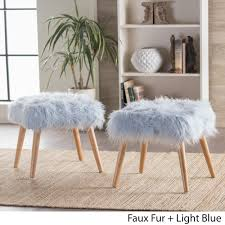 Faux Fur Ottoman Huxley Faux Fur Ottoman Stool By Christopher Home Set Of 2