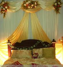 decorating home with flowers decorated wedding bridal bed with luxury curtain and flower also