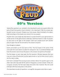 80 u0027s version family feud printable game anniversary