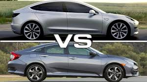 tesla model 3 vs honda civic youtube