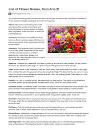 list of flower names from a to z docshare tips