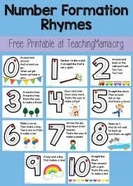 free number formation rhymes printable