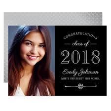 personalized graduation announcements black silver 2018 photo graduation announcement invitations