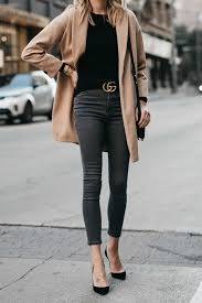 topshop camel coat black sweater grey skinny jeans gucci marmont