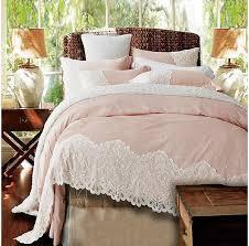Bed Covers Set Pink Lace Cotton Duvet Cover Set