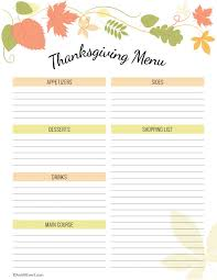 thanksgiving new printable planner thanksgiving menu