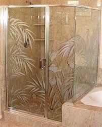 etched glass shower door enclosure ferns anthurium design