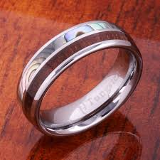 koa wedding bands koa wood and abalone inlaid tungsten wedding ring w free koa wood