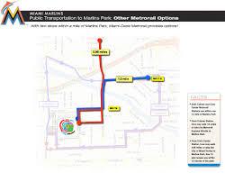 Miami Metro Map by Transportation To Marlins Park Marlins Com Ballpark