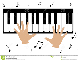 two hands a piano and music notes royalty free stock photo