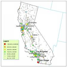 map of cities in california california city population map california maps map of