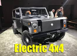 electric jeep bollinger b1 electric 4x4 airbags fording water electric range