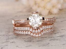 6 5mm round cut moissanite engagement ring 3 rings set curved