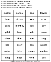 identify nouns and color the box worksheet turtle diary