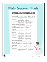 winter compound words vocabulary word scramble worksheet woo jr