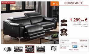 vente unique canapé cuir canapé 3 places relax électrique daloa en cuir noir vente unique