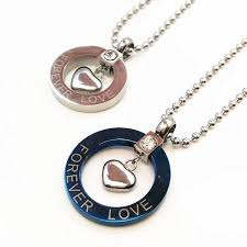 titanium stainless steel necklace images Titanium stainless steel charm heart pendants couple necklaces jpg
