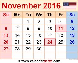 november 2016 calendar usa