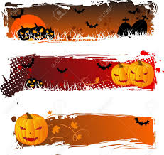 grungy halloween banners with pumpkins for your design royalty