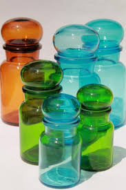mod colored glass bottles vintage kitchen canisters airtight seal