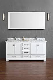 72 In Bathroom Vanity Double Sink by Amazon Com Stufurhome Chanel White 72 Inch Double Sink Bathroom