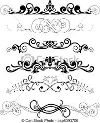 clip vector of set of black ornaments vector illustration