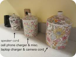 use canisters to hide cords etc organize me pinterest