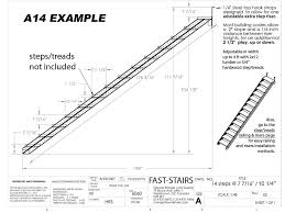technical drawing of fast stairs com stringers kit