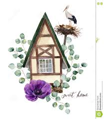 watercolor happy home label watercolor house in alpine style with