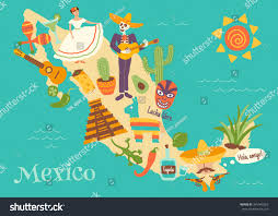 Mexico Map by Complex Vector Illustration Mexico Map Key Stock Vector 345940262