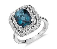 london blue topaz engagement ring london blue topaz and diamond row halo cushion cut ring in
