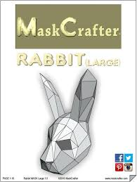 paper halloween bunny rabbit mask papercraft template festival