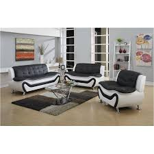Faux Leather Living Room Furniture by Frady 3 Pc Black And White Faux Leather Modern Living Room Sofa