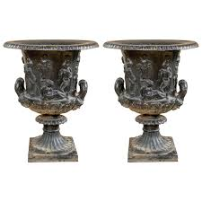 urns for sale pair of 19th century continental cast iron garden urns for sale at