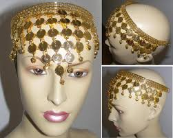 chain headpiece gold coins chain hat for belly
