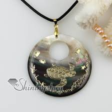 leather necklace wholesale images Round animal sea water black oyster shell mother of pearl goldleaf jpg