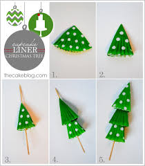 Mini Christmas Tree Cake Decorations by Diy Cupcake Liner Christmas Trees