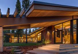 modern house entrance modern mountain home in truckee