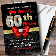 60th Birthday Invitation Card Red Black Gold Diamond 60th Birthday Party Personalised