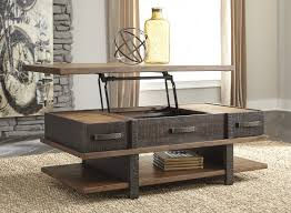 Home Bar Set by Stanah Casual Two Tone Solid Wood Lift Top Cocktail Table