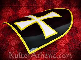 Black Flag With White Cross Lb25172 Medieval Steel Heater Shield White Cross Black Field