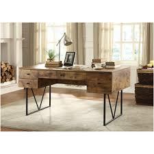 wood and metal writing desk industrial wood and metal writing desk with five drawers of elegant