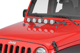 jeep jk hood led light bar rugged ridge hood mount light bar for 07 18 jeep wrangler jk quadratec