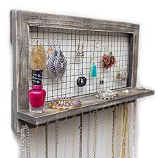 bracelet necklace organizer images Rustic wooden wall mount jewelry organizer for jpg