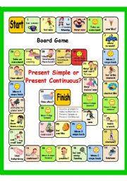 present simple vs present continuous game key