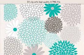 teal flowers flowers clipart teal grey illustrations creative market