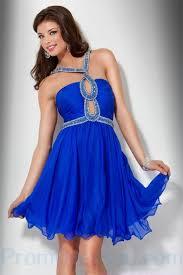 buy tailor made halter beading chiffon knee length deep blue a