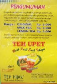Teh Upet menu teh upet bsd tangerang